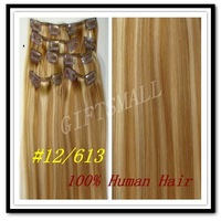 "Mix Color--#12/613,15""18""20""22"",7pcs,70g,16 clips,CLIP IN REMY HUMAN HAIR EXTENSIONS,Women Lady love European style"