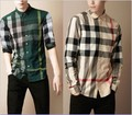 2013 British Men's brand leisure cotton casual classic plaid long sleeve formal suit dress party shirts blouse overshirt,M-2XL