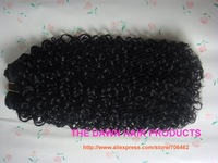 "Blended (50% Human Hair&50% Kanekalon Futura Heat Resistant Fiber) Jerry Curl Hair Weave Weft Weaving Extension Color 1# 8""-18"""