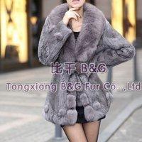 BG942  Genuine Rabbit Fur Coat with Fox Fur Collar Wholesale Retail Winter Warm Rabbit FurCoat