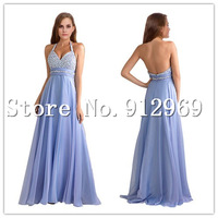 Free shipping chiffon Evening Dress long floor length halter beading A Line Dresses