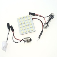 Free Shipping 10 pcs 24 SMD Car LED Panel light 3528 chips dome light Automotive LED bulb white Reading light