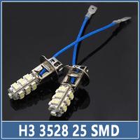 10pcs H3 25 LED Car Lamps SMD 3528 1210  Auto Tail Brake Headlight Fog Turn Signal Reverse Bulbs Wedge light Replace HID Xenon