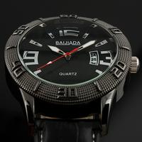 Brand New Men's Sport Army Black Leather Arabic Numerals Bezel Auto Date Quartz Watch WM268