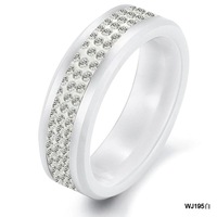 Fashion Summer Ornaments New Arrival Black/White Ceramic Three Rows AAA Cubic Zirconia Wedding Jewelry Ring For Supermen 195