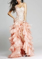 Hot 2012 Sheath One Shoulder Sleeveless Satin Organza High Low Peach Homecoming Dresses With Beadwork Ruffles(MDe106)