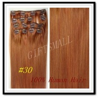 "SPECIAL Color-- #30,15""18""20""22"",7pcs,70g,Medium Auburn,Women CLIP IN HUMAN HAIR EXTENSIONS,Brazilian Remy Hair"