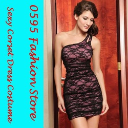 Free Shipping! Lady Pink Elegant Asymmetrical Lace Mini Dresses For Prom, Pageant Or Special Occasion Party HL2498(China (Mainland))