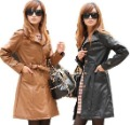 Wholesale - NEW Free Shipping Women's Clothing Fashion Thicken Cotton Long Coat Slim Belt Leather Jacket 2-Color NR888