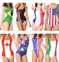 American Flag Bodysuit Women Digital Print One-Piece Backless Swimsuit Beachwear Brazilian flag 2014 World Cup Hot Tankini