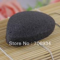 4pcs/lot 3colors Water-Dropping 100% Natural Charcoal Konjac Facial Sponge Body Wash Cleaning Puff 97*77*16