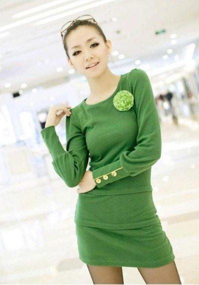 Мятное трикотажное платье-мини