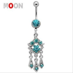 12 PCS Indian Dangle Star Navel Belly button rings with Crystal body piercing/jewelry(China (Mainland))