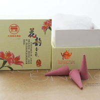 Natural lily incense cones,24 pcs+22 min. A small ceramic burner.Optional rose,lavender and jasmine.Well-known Gucheng Incense.
