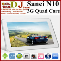 Original Sanei N10 3G Quad core tablet pc Qualcomm Cortex-A9 1.2GHz 10.1inch IPS GPS Tablet Camera Bluetooth