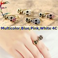Wholesale fashion multicolor double Skull skeleton finger clip ring 24pcs/Lot full rhinestone head ring jewelry