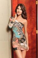 High quality! Fashion print one-shoulder Dress, MIni Clubbing Dresses, One Size,2541