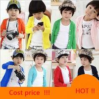 2014 Spring  male child girls clothing child 100% cotton long-sleeve basic shirt t-shirt air conditioning cardigan