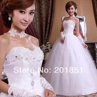 Free Shipping Guaranteed 100% 2014 New Fashion Women's Sweet Princess  Rhinestone Grid Yarn Lace Up Wedding Dress Wedding Gown
