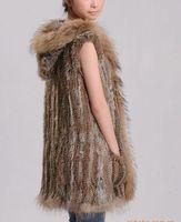 FREE SHIPPING Factory Sale Rabbit Fur Coat raccoon Dog Fur Collar Hoodies Gilet 100% Natural Rabbit Fur Vest Drop Shipping