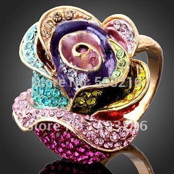 High Quality Austrian Crystal Promotion 18K Golden Plated Rose Shape Imitation Diamond Ring
