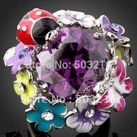 High Quality Rhodium Plated Promotion Fashion Ladybug Round Amethyst  Crystals Ring