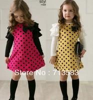 New autumn fashion style girl dot long sleeved  dress,5pcs/lot