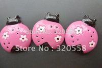 "Deep pink ladybug FlatBack Resins Scrapbooking Embellishment 50pcs 1.2"""
