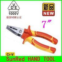 "BESTIR TAIWAN ORIGINAL chrome-vanadium steel insulated VDE 7"" Combination Plier hand electric cutter,NO.10392 freeshipping"