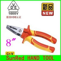 """SunRed BESTIR TAIWAN BRAND VDE Cr-V forged insulated 8"""" Combination Plier electrician network wire cutter,NO.10393"""