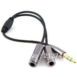 3.5MM Extension Earphone Headphone Audio Splitter Cable Adapter Male to 2 Female(China (Mainland))