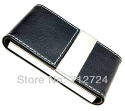 Wholesale 20 pcs/lot. Free Shipping! Black Leatherette+Stainless Steel Business Credit ID Card Holder Case Wallet w/Gift Box(China (Mainland))