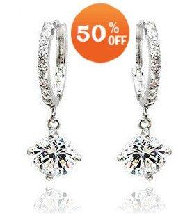Three Colors Gold plated crystal drop earrings Zircon Rhinestone fashion Jewelry 2396