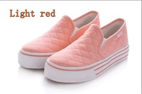 2012new casual shoes  cloth    women's  slip-on loon    thick bottom platform  Free shipping