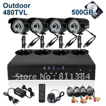 Home 4CH H.264 Surveillance DVR 500GB HDD 4pcs Day Night 480tvl IR Outdoor Indoor Security Camera CCTV System