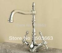 Brand New Concept Swivel Kitchen Faucet Polished Chrome Mixer Double Handles Tap CM0897 Mixer Tap Faucet