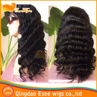 Hotsale: 100 human remy hair deep loose wave  lace front wig for black women, 12-24inch 1# color density 120%