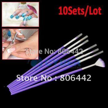 Wholesale 10Sets/Lot 7PCS Purple Nail Art Design Pen Painting Dotting Acrylic Nail Brush Free Shipping