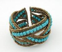 [Mix 15USD]  Ladies Fashion Bohemian style Braid Blue Beads Wide Cuff Open Bracelet Bangle