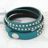 [Mix 15USD]Fashion punk styles Vintage Cool Multilevel full crystal Chain Leather wrap Bracelet B-025