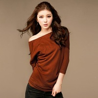 Free shipping 2014 New style  women's top blouse  retail  Wholesale  Two  color Black  Red  #12326