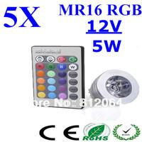 5pcs 5W RGB E27 GU10 MR16 LED Spotlight Light 16Colors Changeable LED Light Bulb Lamp +24 Keys Remote For Christmas Decoration