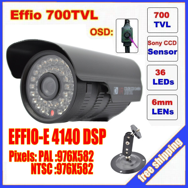 "Security 1/3"" Sony Effio CCD 700TVL OSD menu IR 30m outdoor waterproof CCTV camera with Bracket . Free Shipping(China (Mainland))"