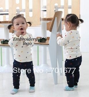 brand logo long sleeve t shirt + pants baby children clothing set children suit  6#V5855