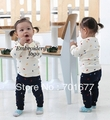 brand logo long sleeve t shirt + pants baby children clothing set children suit  6#V5855