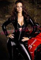 XXL Stock Big Plus Size Sexy Lingerie Black Body Suit Clubwear Faux Racing Costume Vinyl Jumpsuit