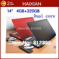 DHL free OEM 14 inch Intel Atom D2500 dual core webcamera wifi notebook computer laptop DVD-RW