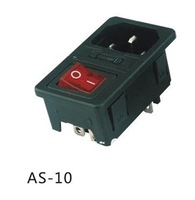 AC power socket,fuse switch,ac inlet  AS-10 with boat switch KCD1-104N(red)