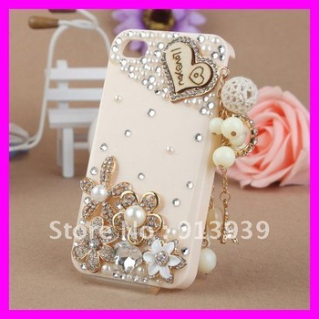 Lovely Tassel Bear 3D Cover for Iphone4/4s  ,Bling Crystal Flower  Mobilephone Case For Iphone  ,Phone Accessory,Free Shipping
