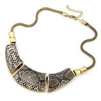 [Mix 15USD] wholesale Jewelry Fashion Geometry montage Snake Skin Vintage Necklace chunky
